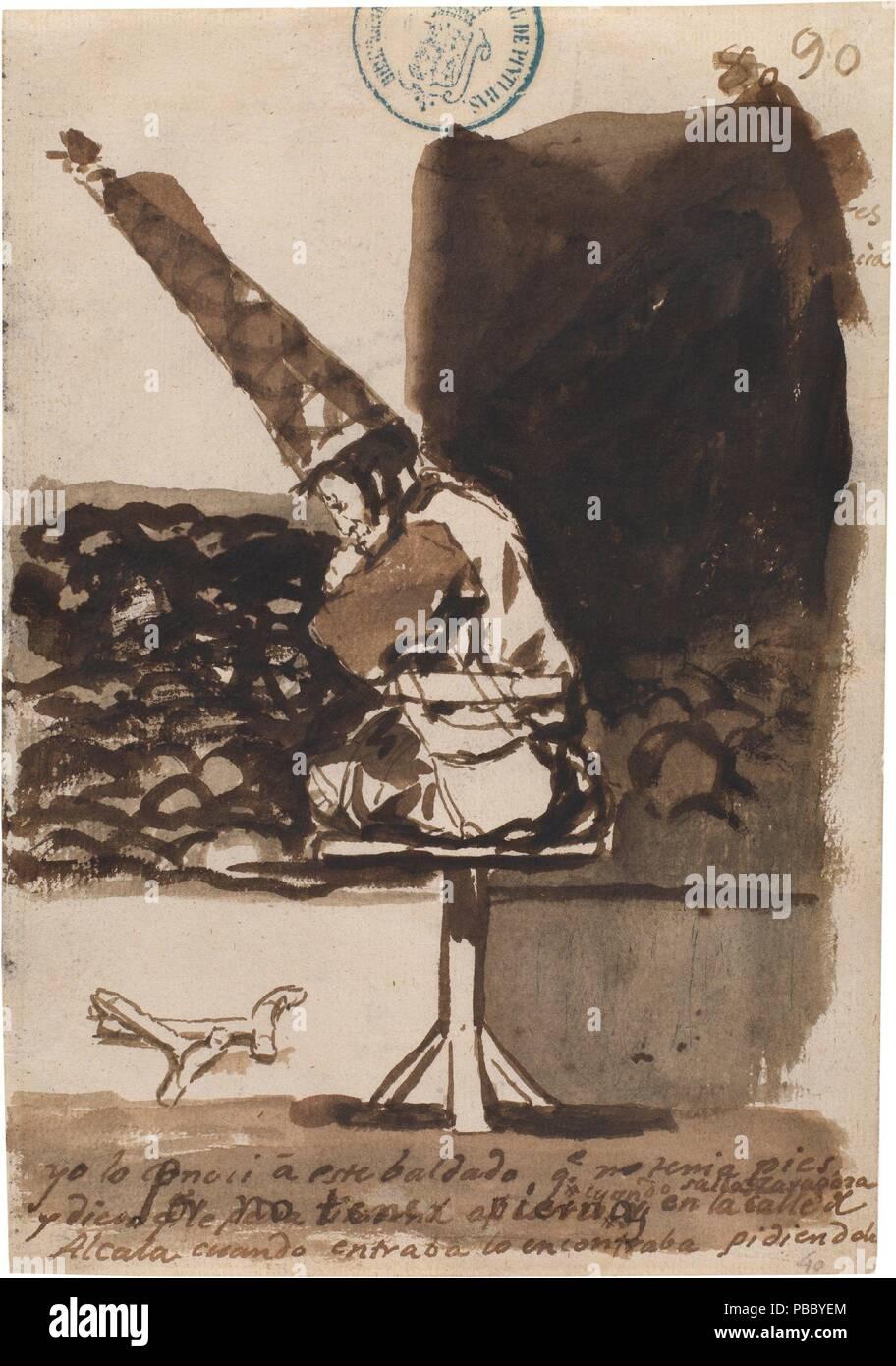 Francisco de Goya y Lucientes / 'Por no tener piernas. Album C, 90'. 1810 - 1811. Wash, Brush, Grey-brown ink, Iron gall ink on laid paper. Museum: Museo del Prado, Madrid, España. - Stock Image