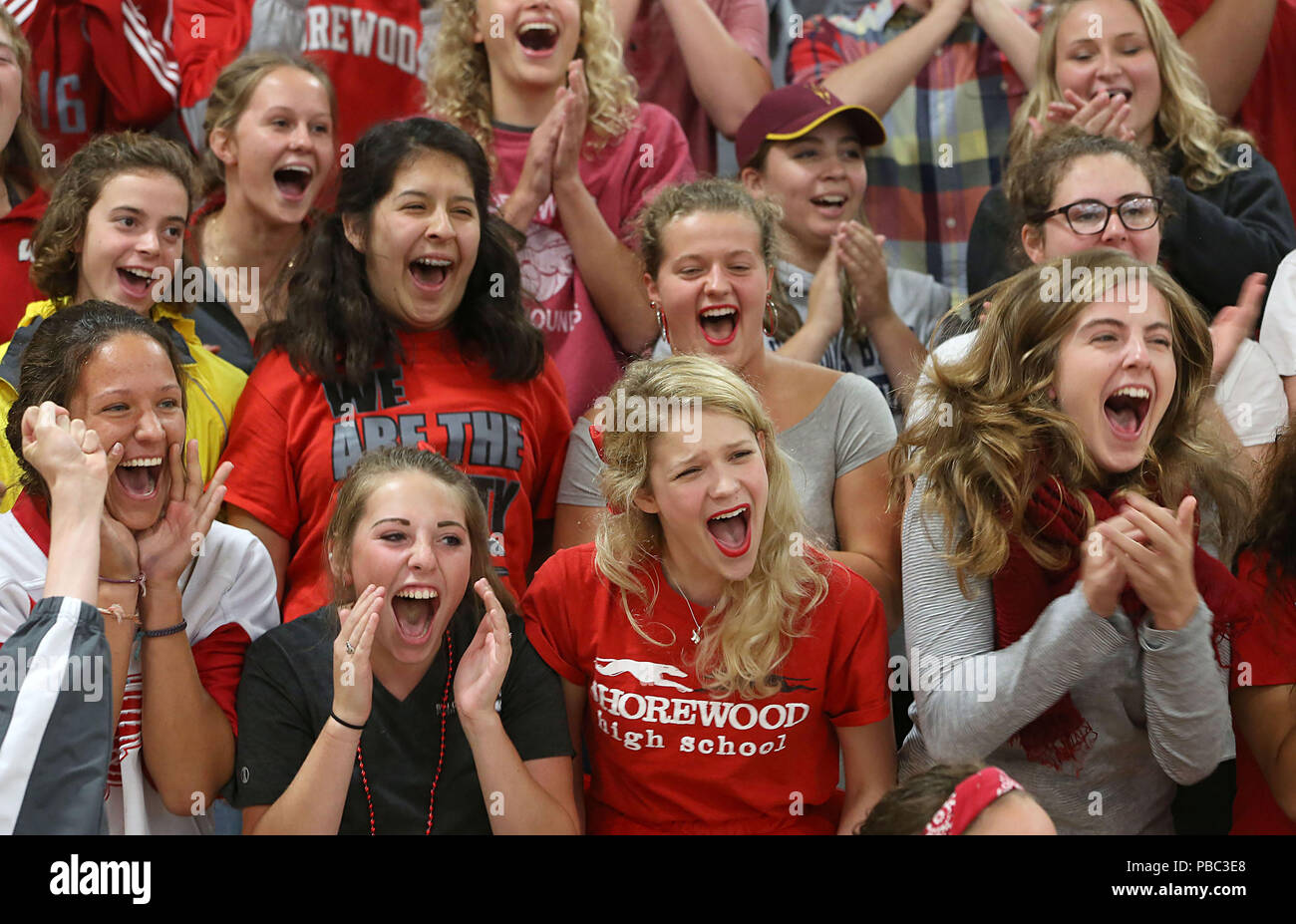 Cheering section at an American high school. - Stock Image