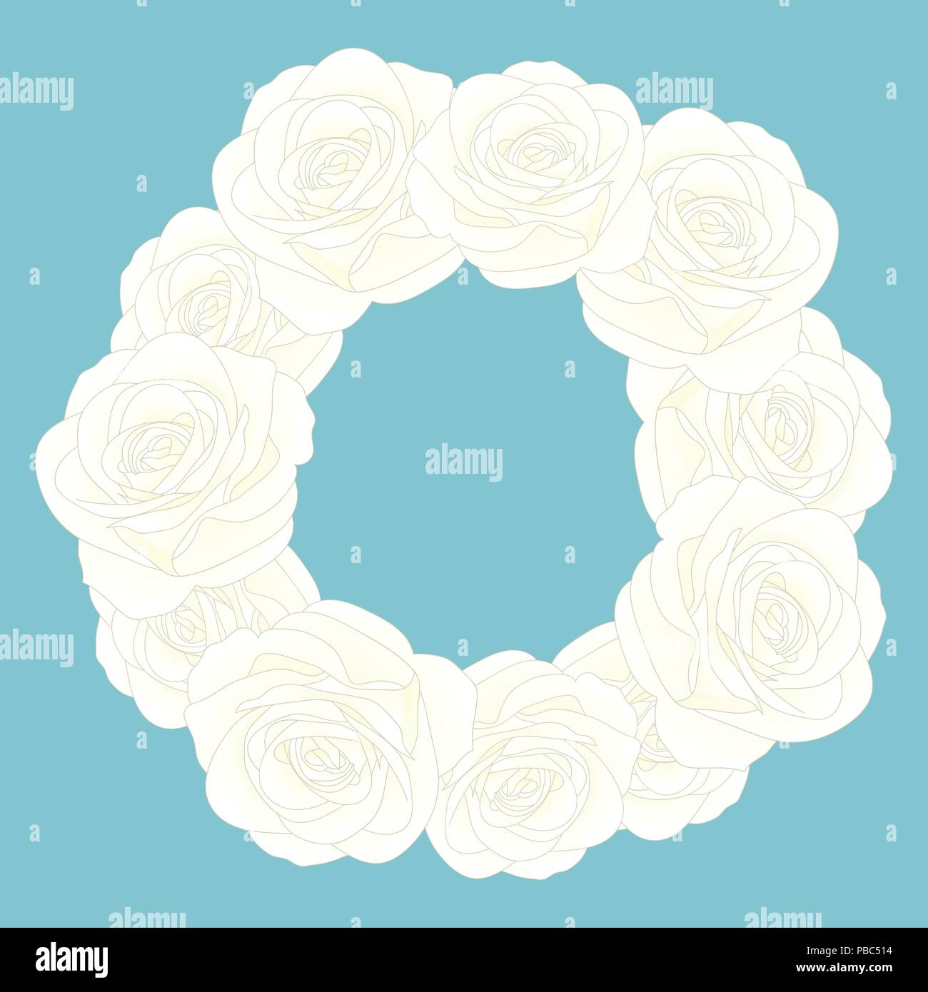 White rose flower wreath isolated on blue background vector white rose flower wreath isolated on blue background vector illustration izmirmasajfo