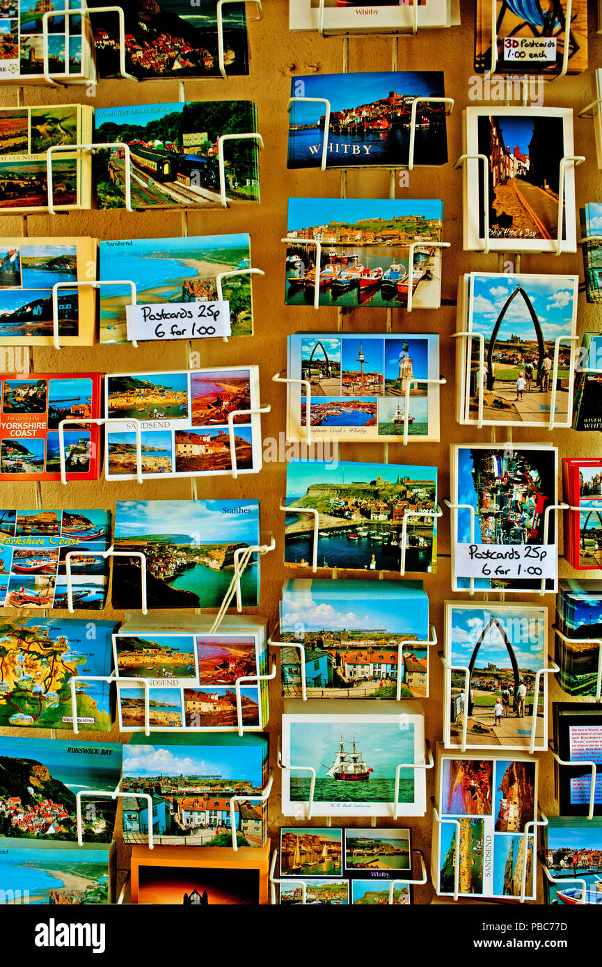 Postcards in shop Whitby, North Yorkshire, England - Stock Image