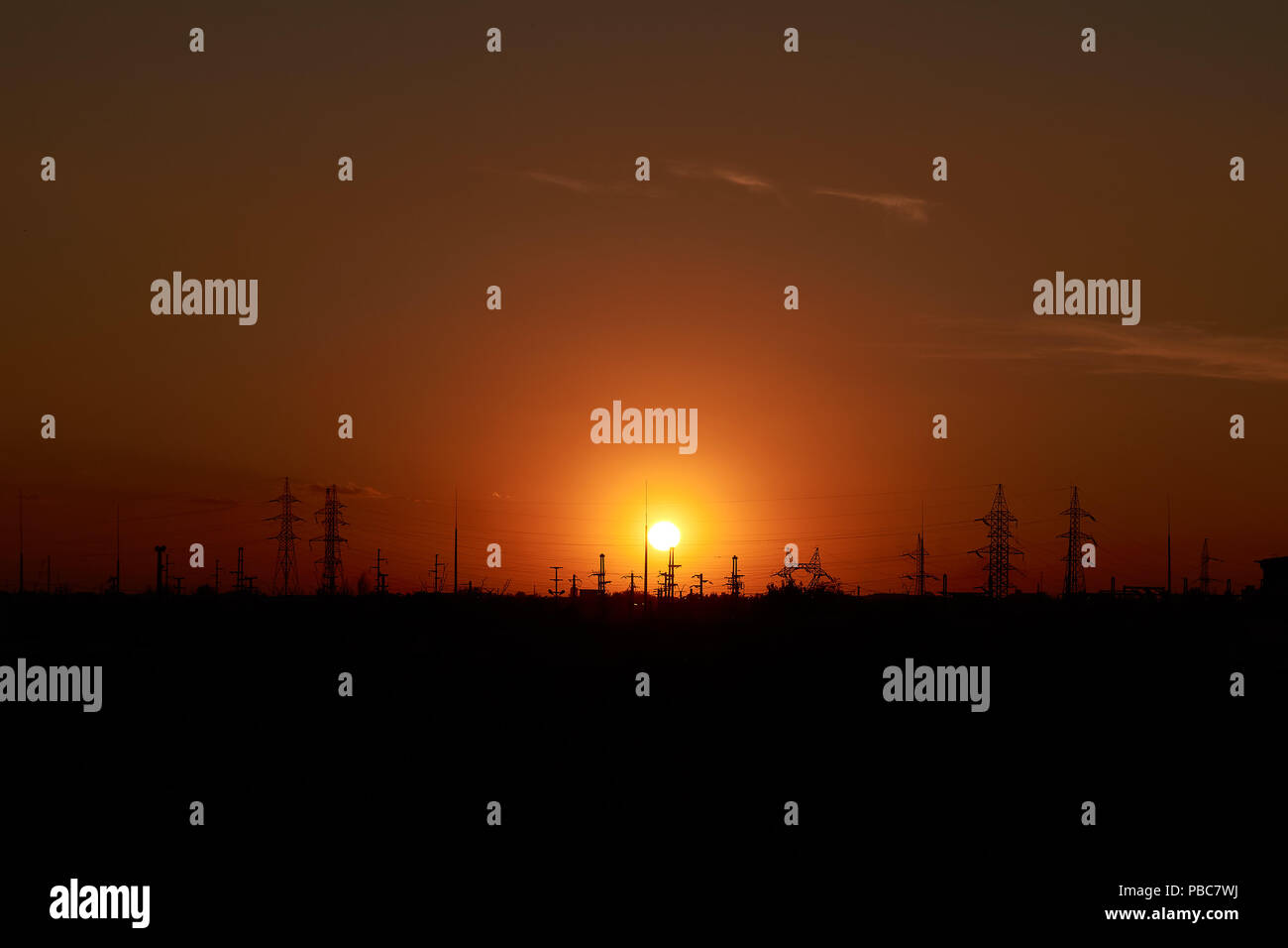 The periphery of the city at sunset - Stock Image