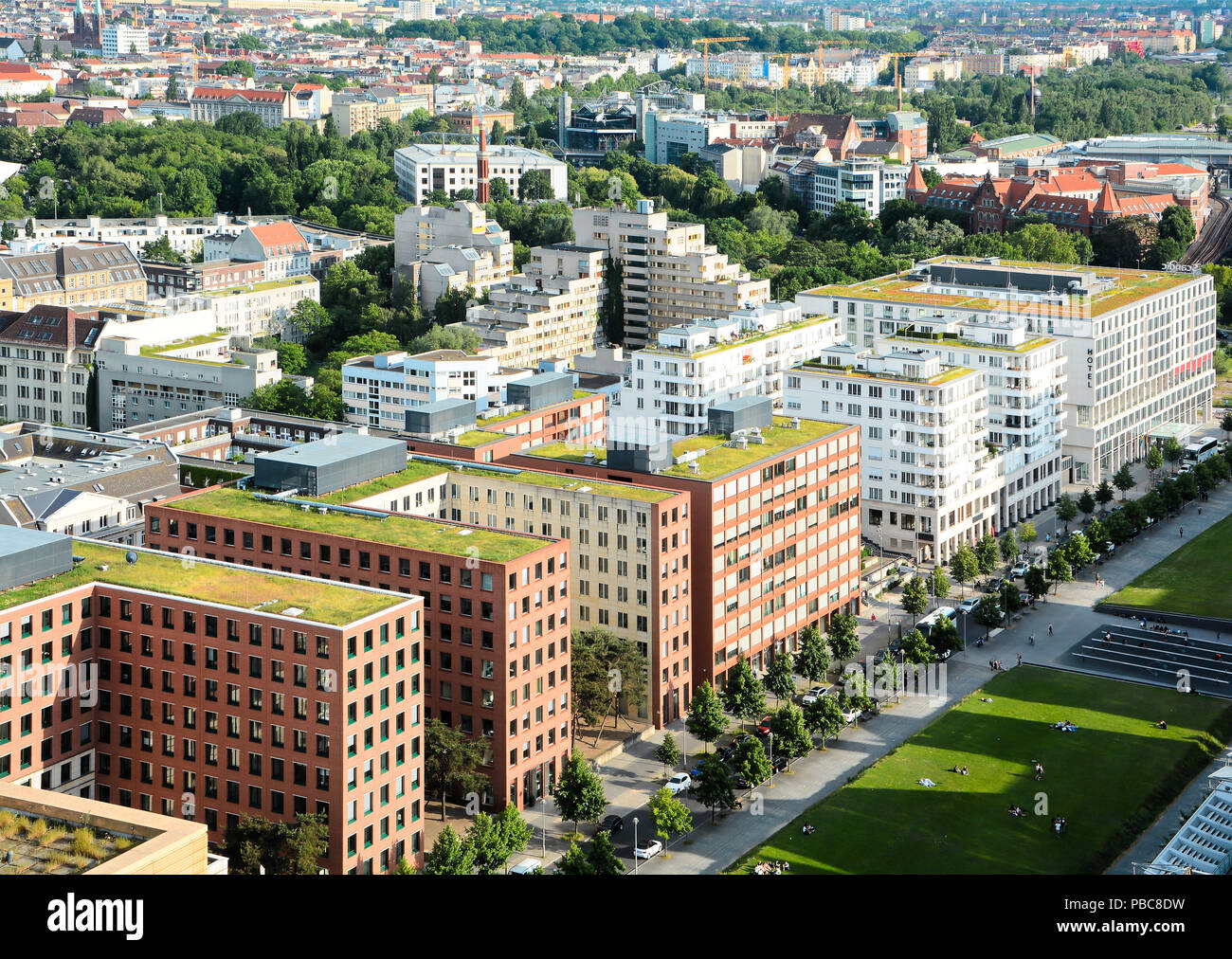 View from a skyscraper in the city center of Berlin - Stock Image