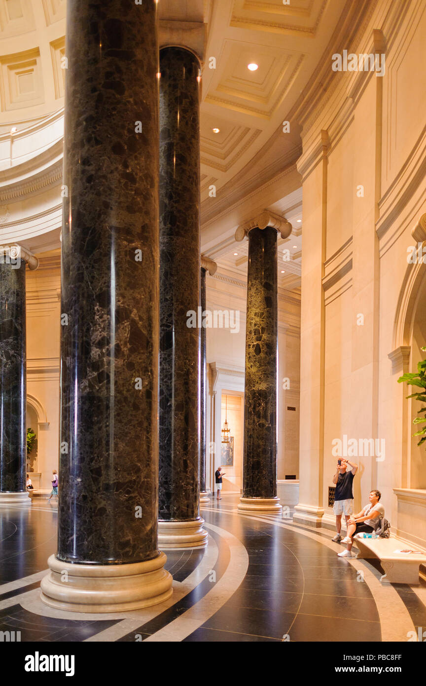 WASHINGTON, USA - SEP 24, 2015: Interior of the National Gallery of Art, a national art museum in Washington, D.C., National Mall, between 3rd and 9th Stock Photo