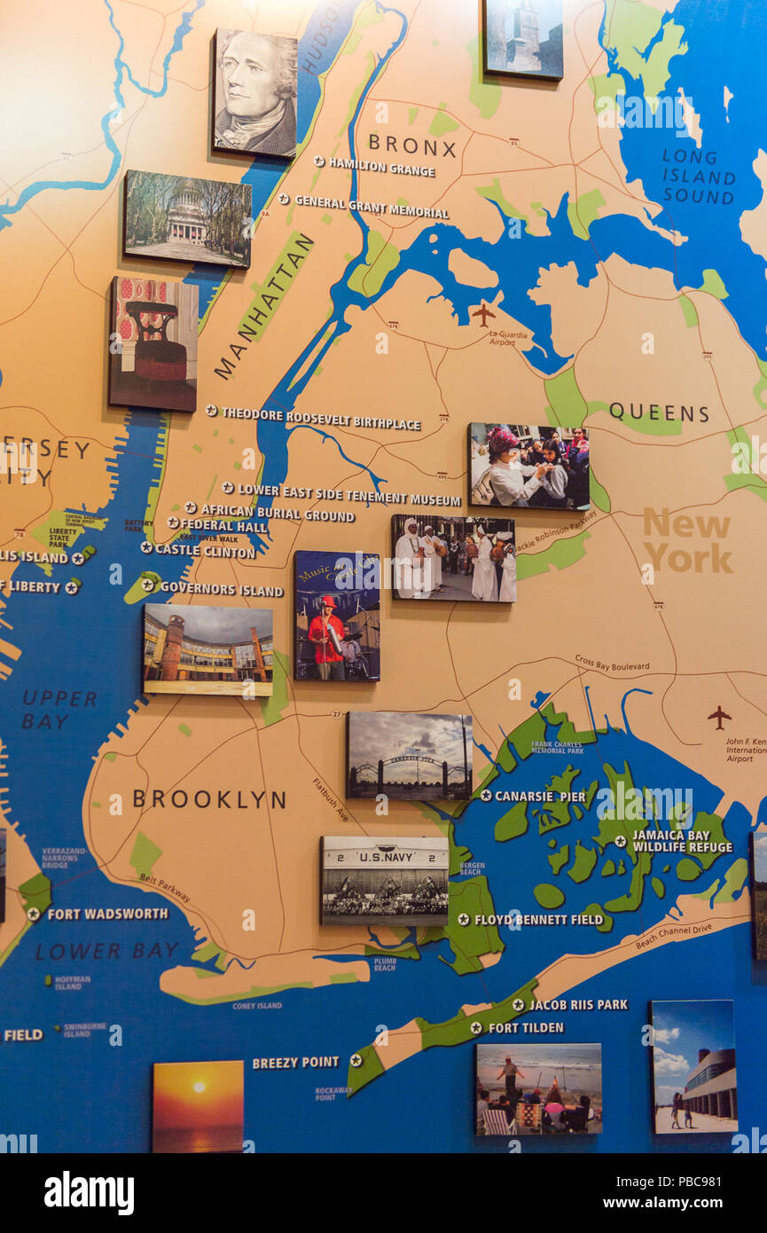 NEW YORK, USA - OCT 8, 2015: Map at the Federal Hall ...