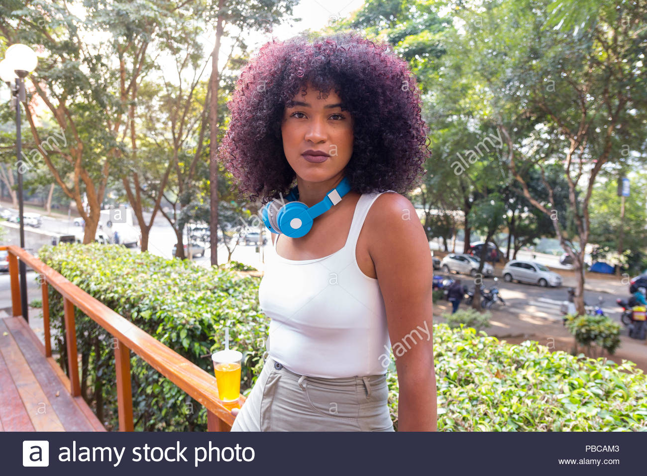 Portrait of gorgeous young woman, confident and looking at camera. Urban background, trees, street and cars. She is black, on her early twenties, Afro - Stock Image