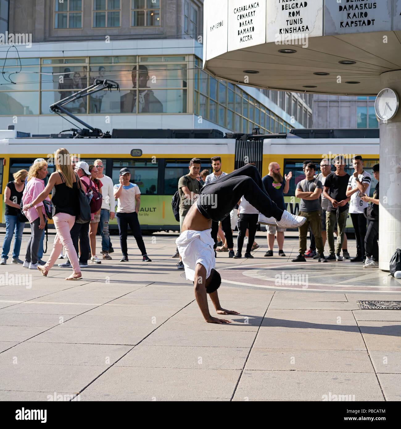 Breakdancer in the city center of Berlin Stock Photo
