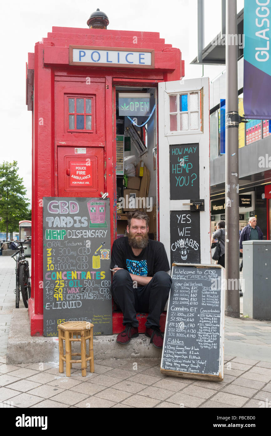 CBD Cannabis oil hemp for sale from old Police Box in Glasgow city centre, Scotland, UK - Stock Image
