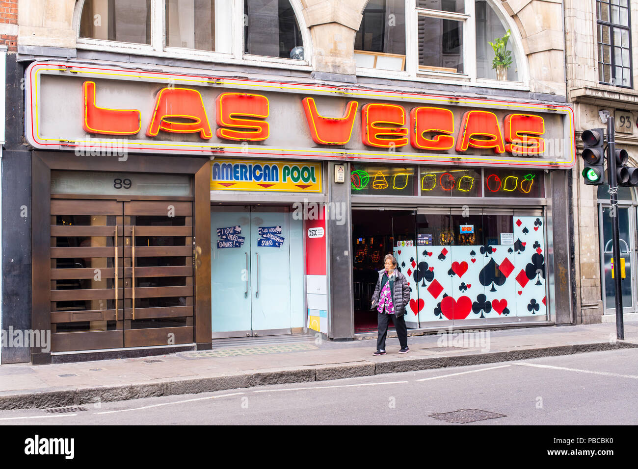 Las Vegas Arcade a videogame amusement arcade located next to Chinatown in the heart of Soho, Wardour Street, Soho, London, UK Stock Photo