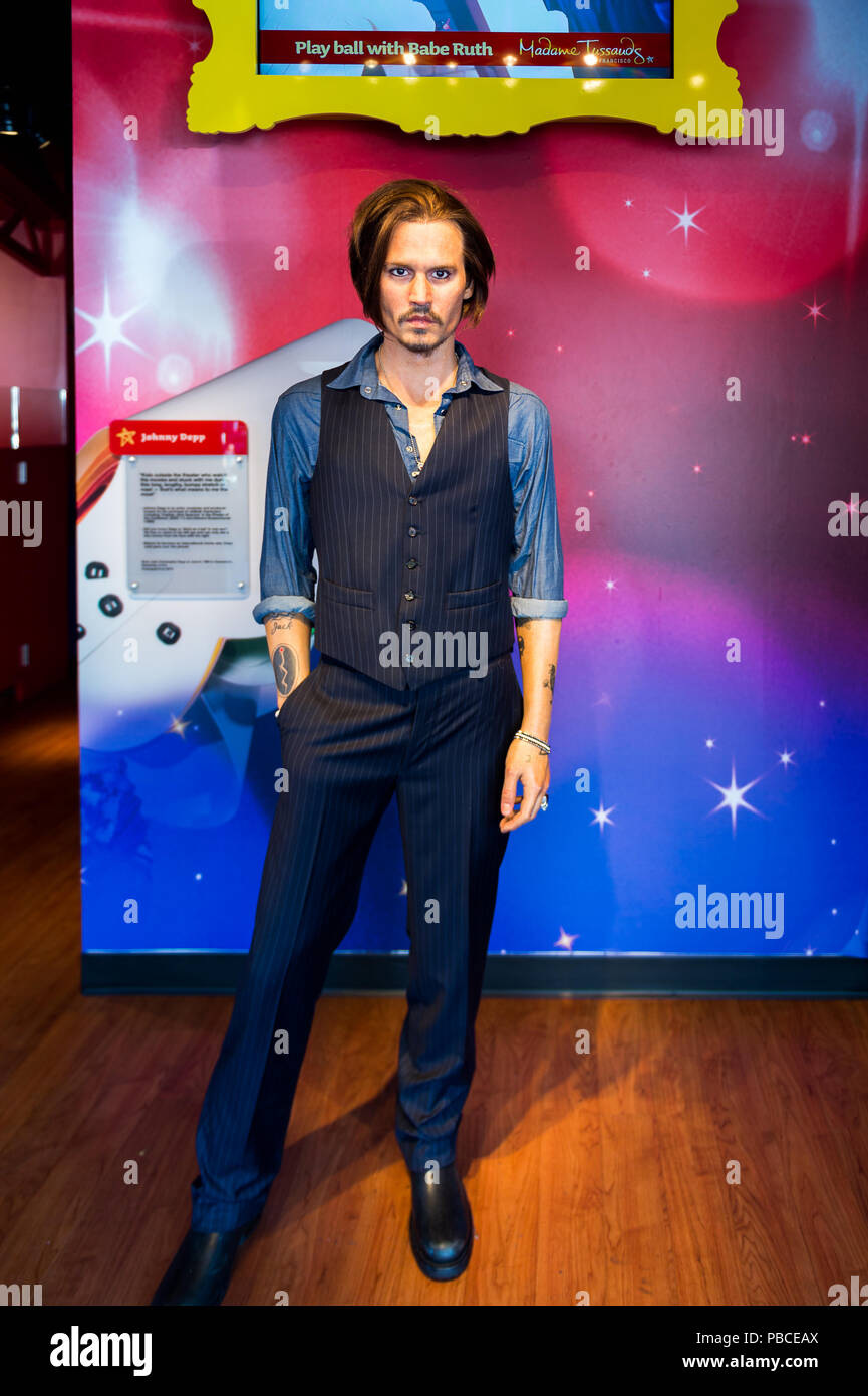 SAN FRANCISCO, USA - OCT 5, 2015: Johnny Depp at the Madame Tussauds museum in SF. It was open on June 26, 2014 - Stock Image
