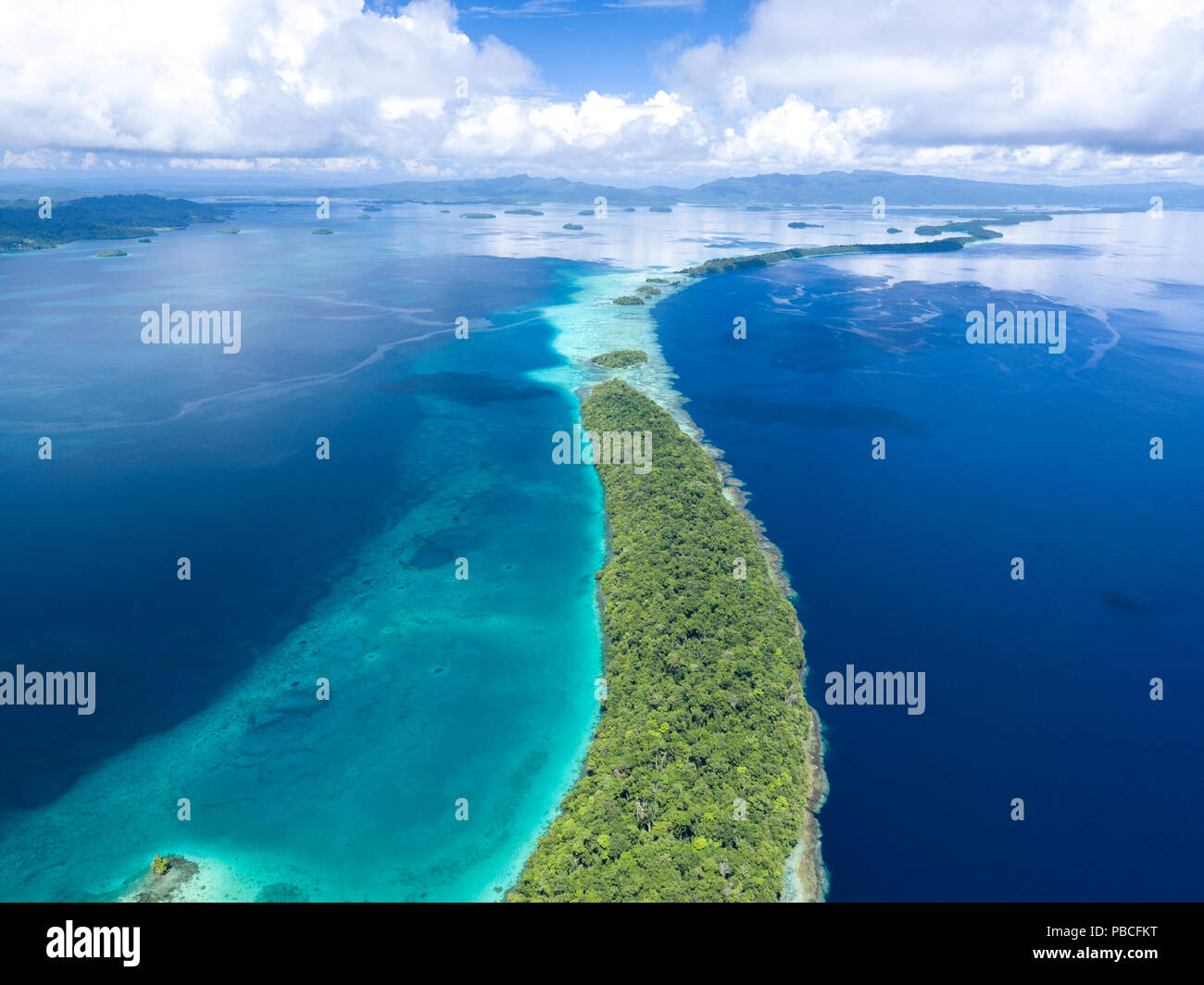Aerial image of Marovo Lagoon, Solomon Islands - Stock Image
