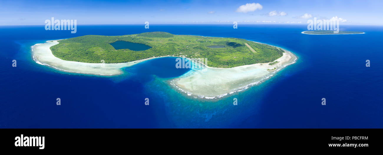 Aerial of Santa Ana island, Solomon Islands - Stock Image
