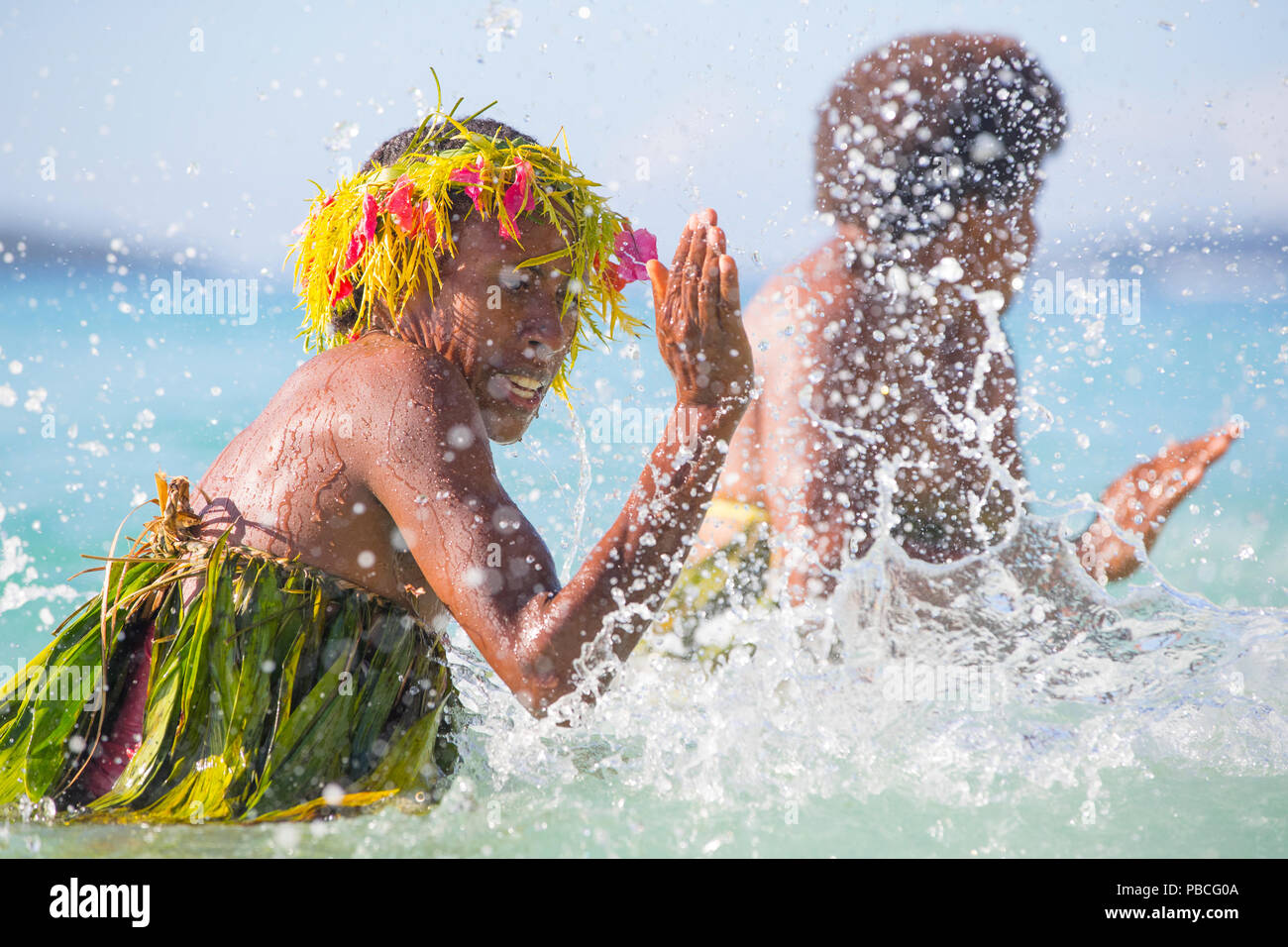 Vanuatu Water Music performed only by Women - Stock Image