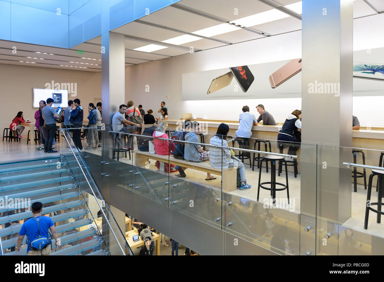 SAN FRANCISCO, USA   OCT 5, 2015: Interior Of The Apple Store In San  Francisco. Apple Inc. Is An American Multinational Technology Company In  Cupertin