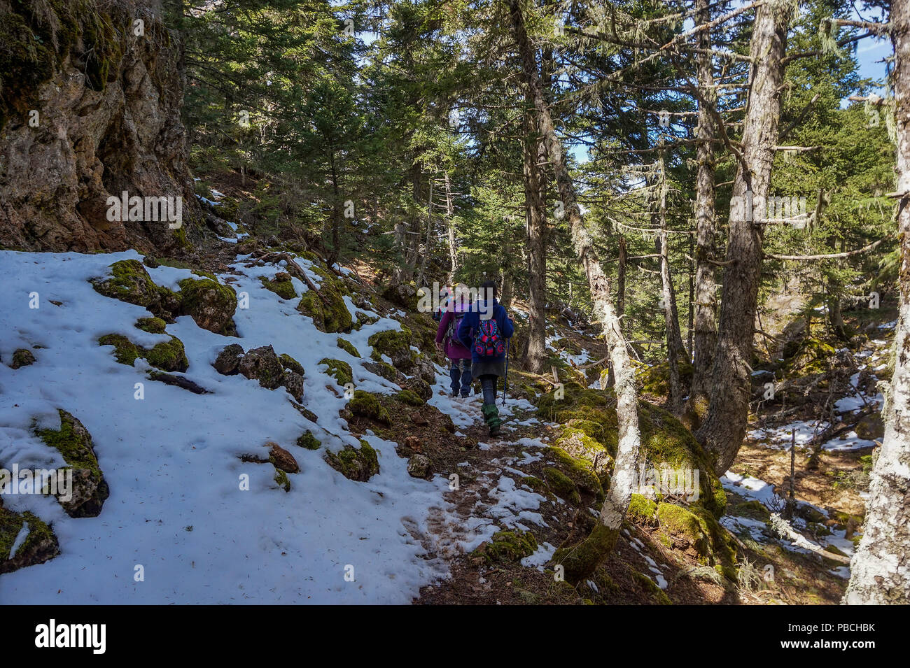 People Hiking from the ski resort of Aroania (also known as Helmos or Chelmos) Mountain heading to the Big Cave Monastery located above Zachlorou. - Stock Image