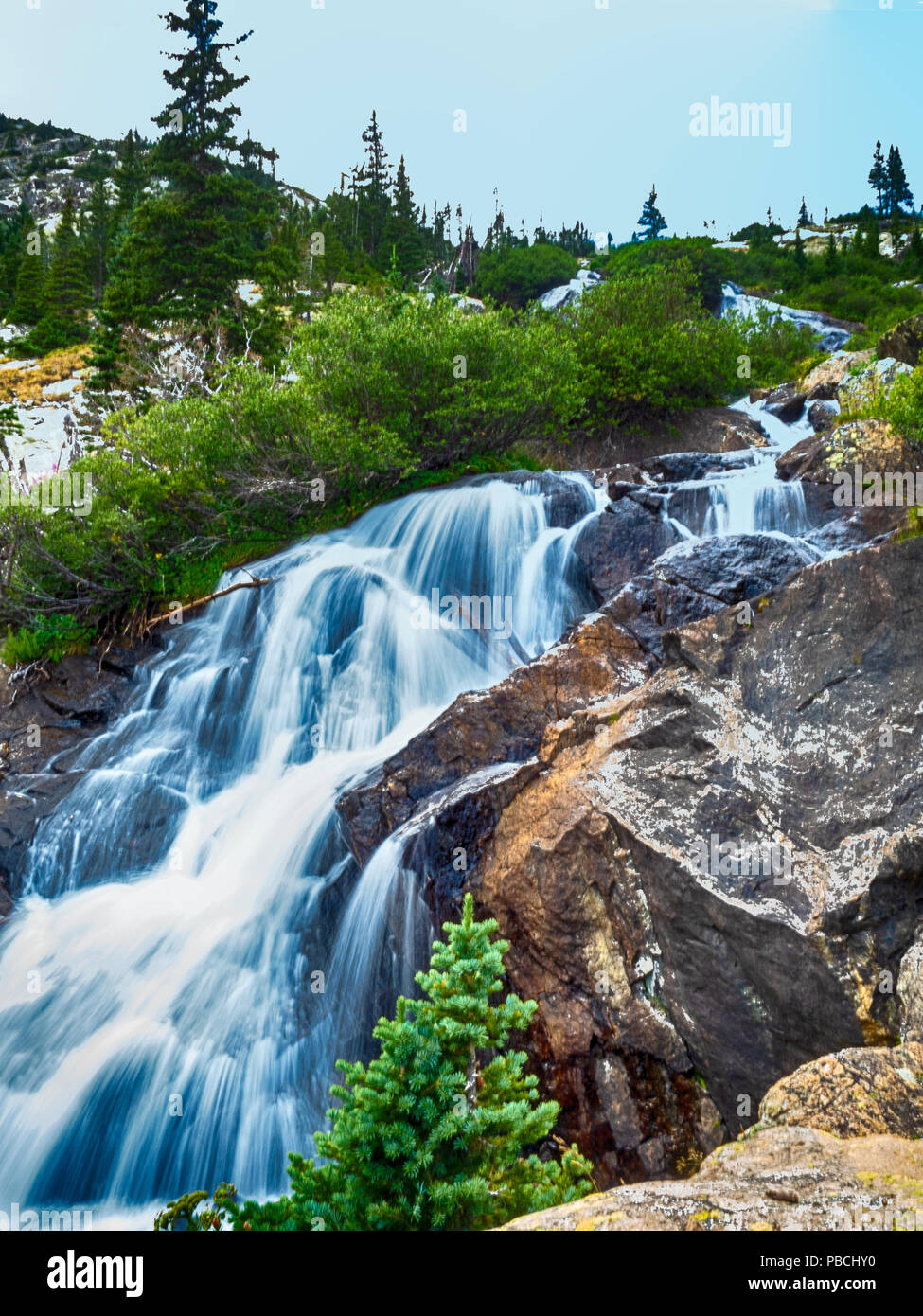 Waterfall on the MCCullough Gulch Trail in Summit County, Colorado - Stock Image