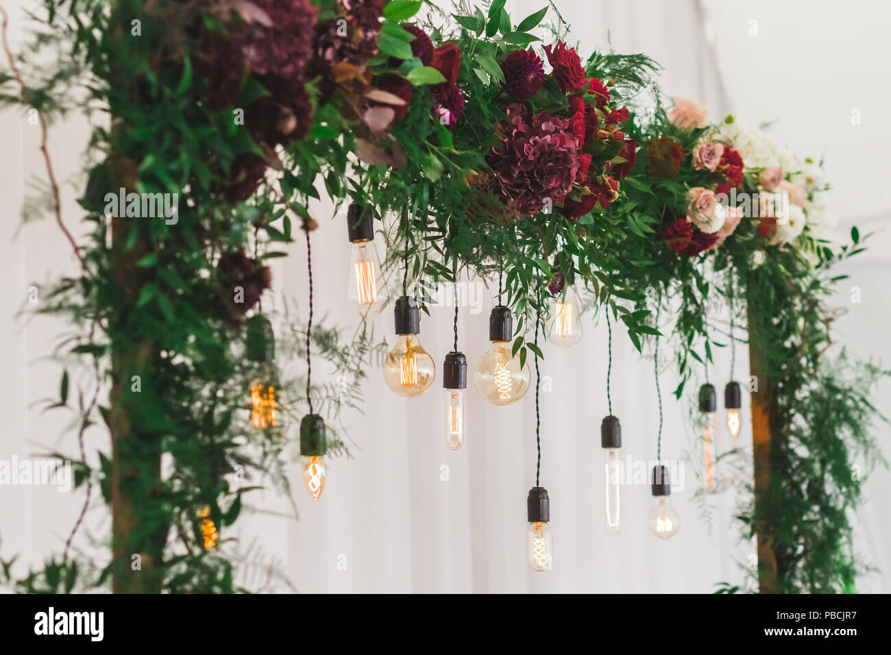 Wedding Reception Decoration With Different Electric Edison Lamps