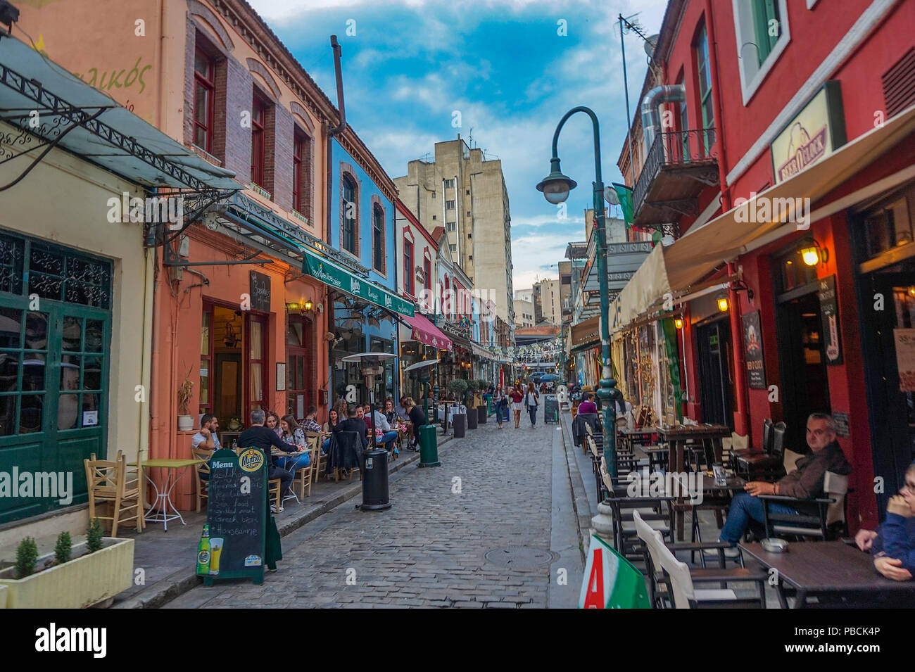Ladadika is a popular much visited city area with local bars and traditional taverns. Ladadika means the shops that sell oil and its derivatives. - Stock Image