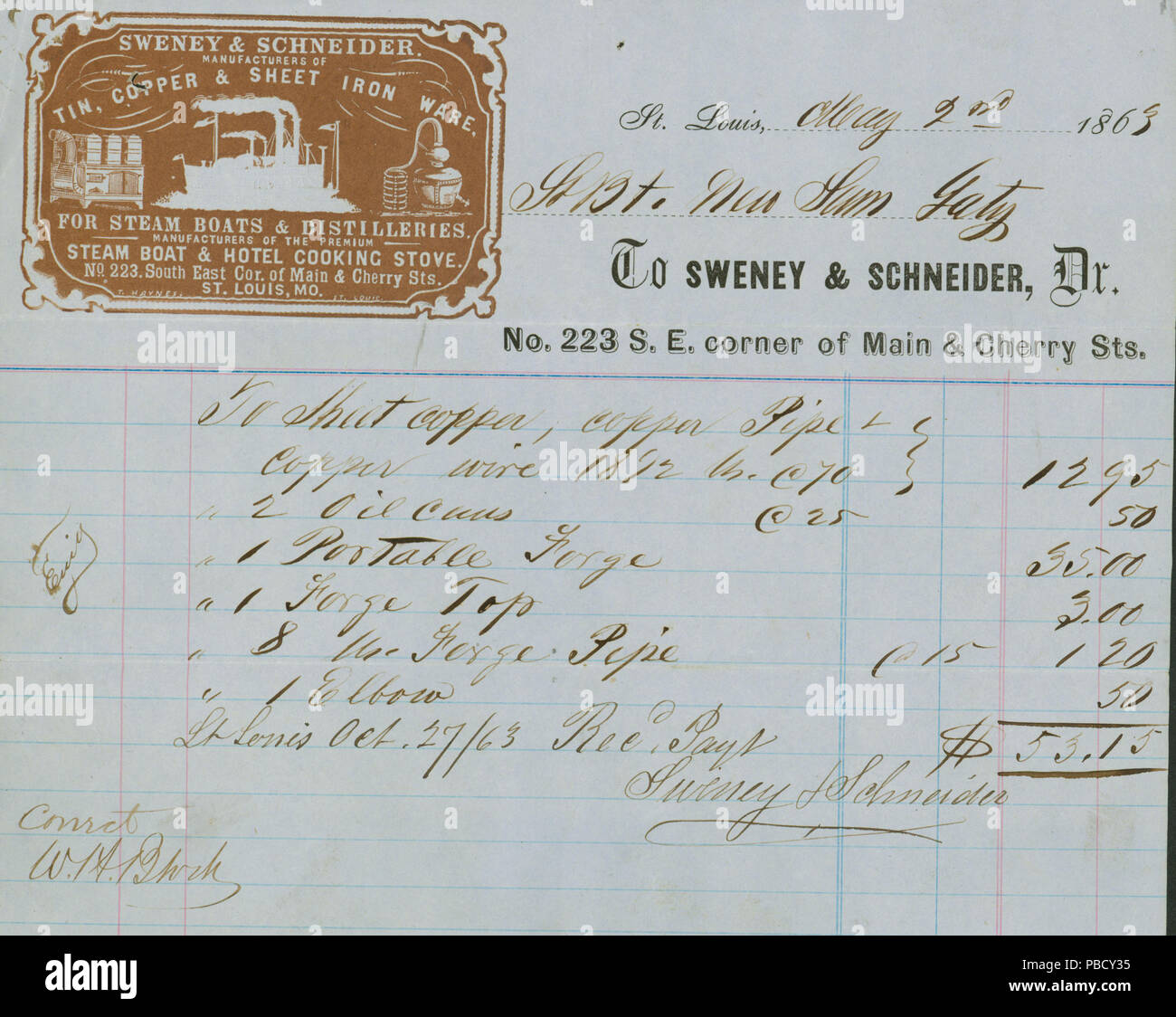 1248 receipt of payment of steamboat new sam gaty to sweney and
