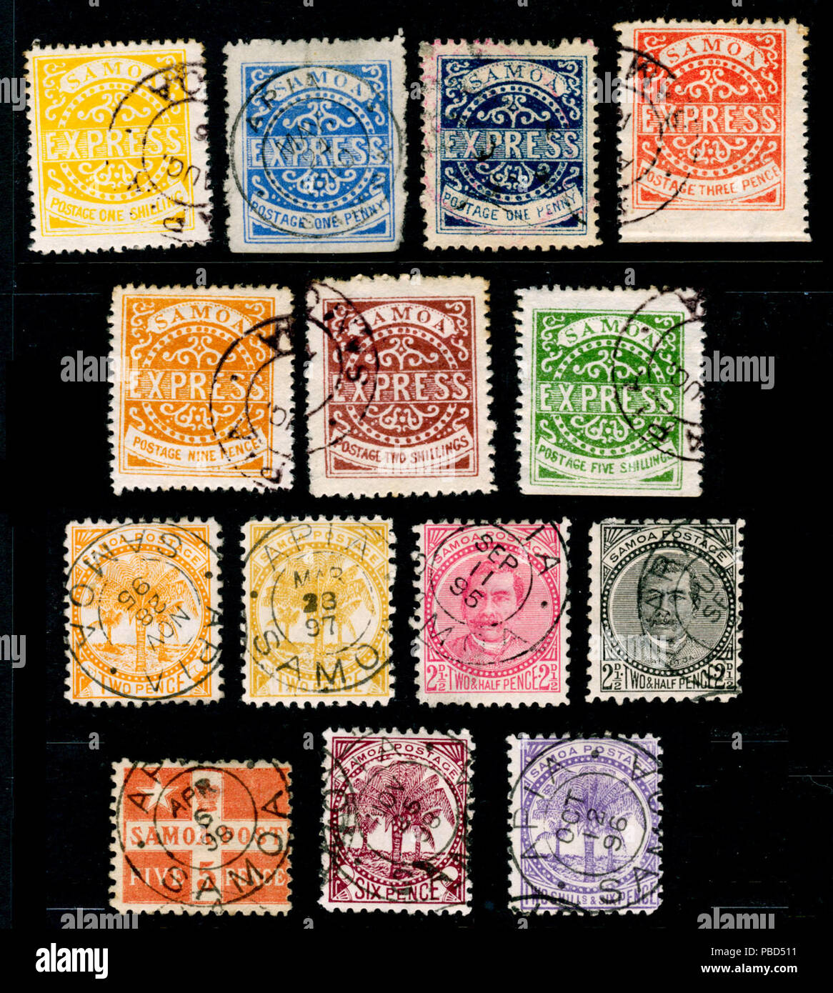 . English: Various used stamps of Samoa from before 1900. Probably includes forgeries. before 1900. 1285 Samoa stamps - Stock Image