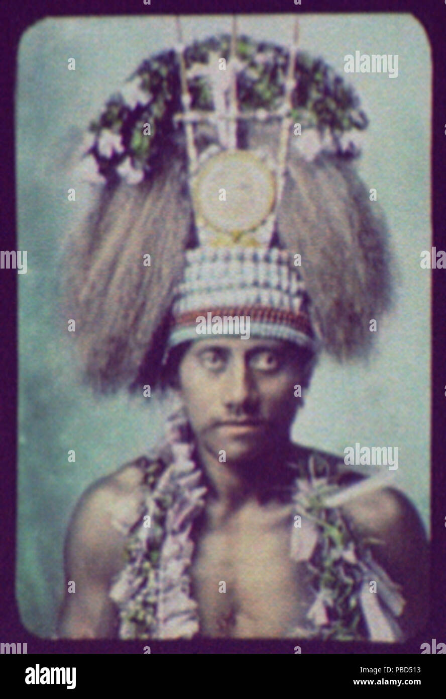 1285 Samoan Chief - head and shoulders, wearing ceremonial headdress LCCN2004707892 - Stock Image