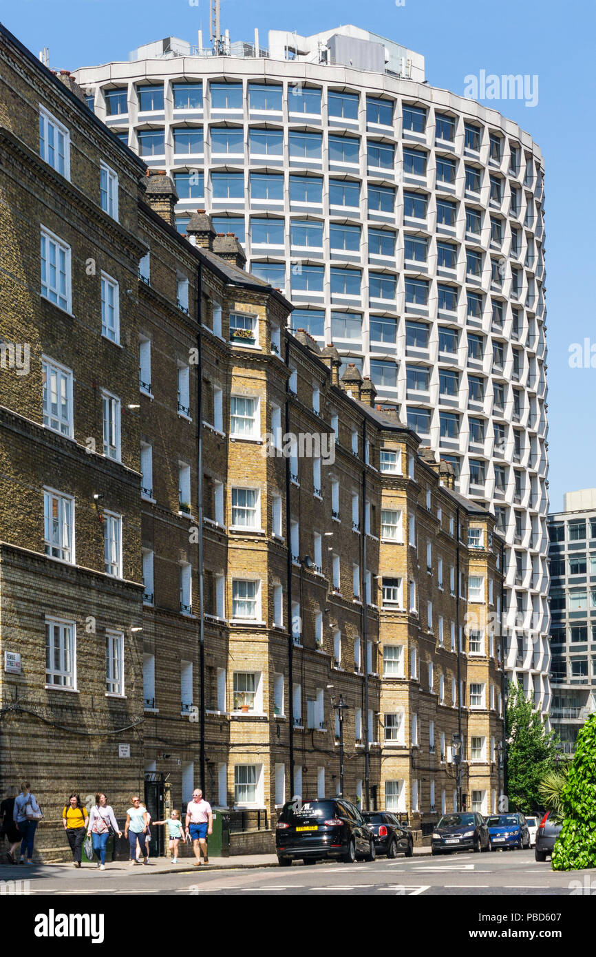 The Grade II listed brutalist One Kemble Street, off Kingsway, was designed by Richard Seifert as part of the 1960s commercial property boom - Stock Image