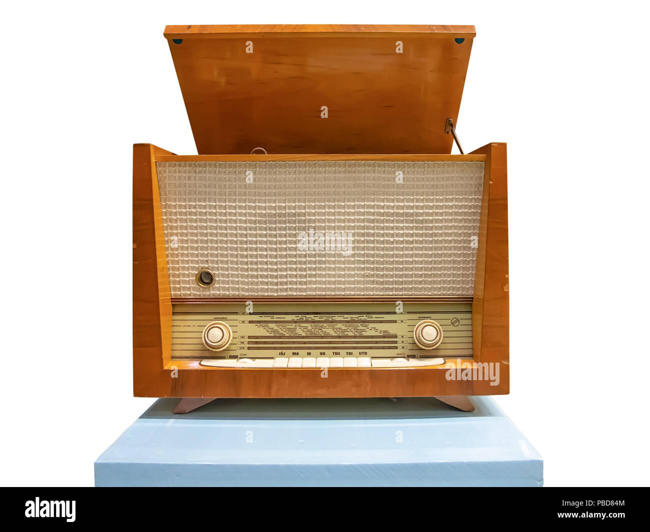Vintage wooden radiogram isolated on whitebackground - Stock Image