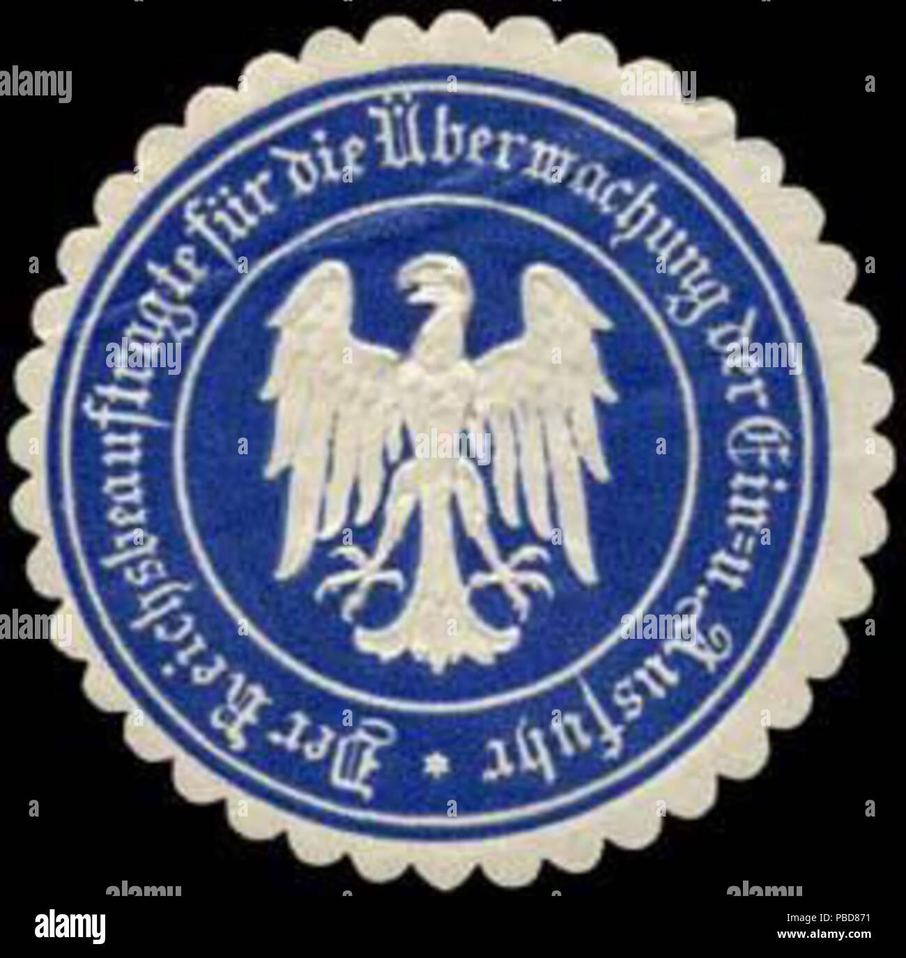 Alte Briefverschlussmarke aus Papier, welche seit ca. 1850 von Behoerden, Anwaelten, Notaren und Firmen zum verschliessen der Post verwendet wurde. 1344 Siegelmarke Der Reichsbeauftragte für die Überwachung der Ein - und Ausfuhr W0239855 Stock Photo