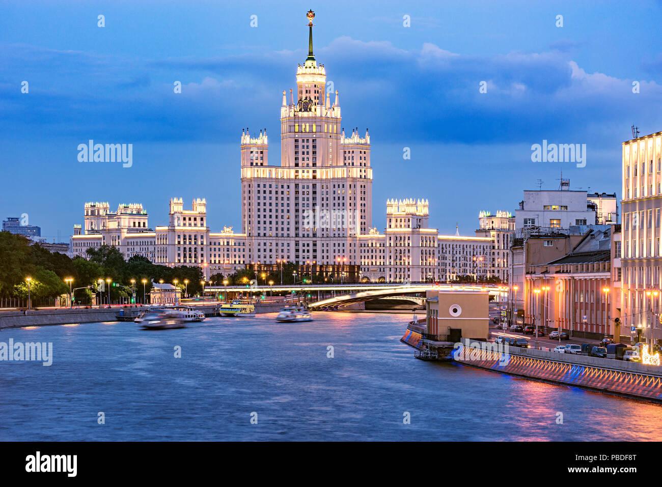 Retro skyscraper by the river. Moscow. Russia. Stock Photo