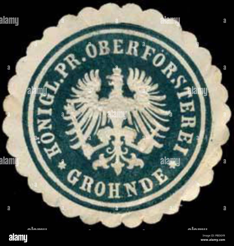 Alte Briefverschlussmarke aus Papier, welche seit ca. 1850 von Behoerden, Anwaelten, Notaren und Firmen zum verschliessen der Post verwendet wurde. 1454 Siegelmarke Königlich Preussische Oberförsterei - Grohnde W0247040 - Stock Image