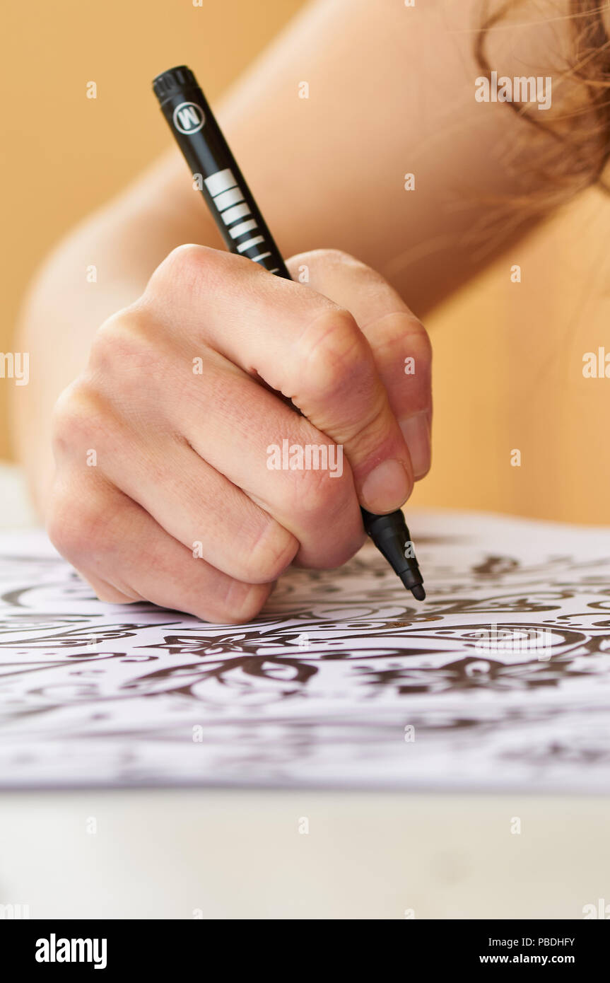 Female hand drawing floral motifs with black marker over white page (Formentera, Spain) - Stock Image