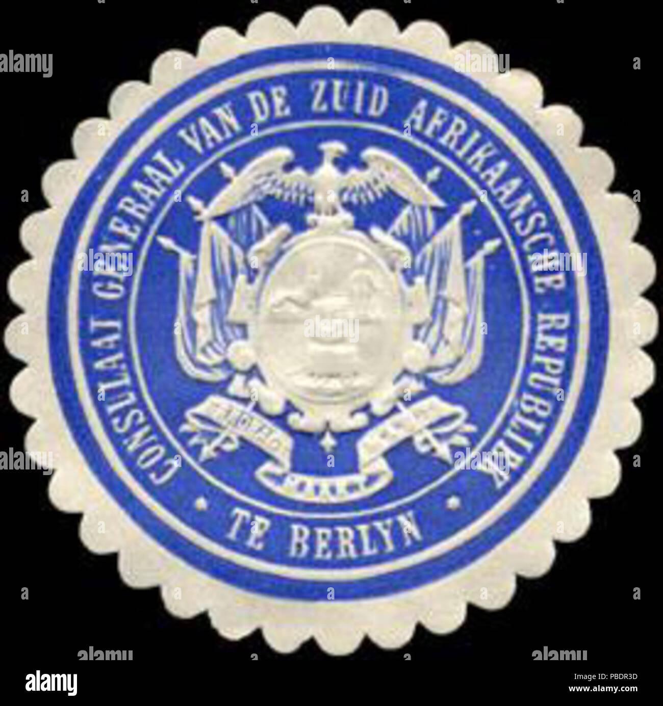 1334 Siegelmarke Consulaat General van de Zuid Afrikaansche Republiek te Berlyn W0223524 - Stock Image