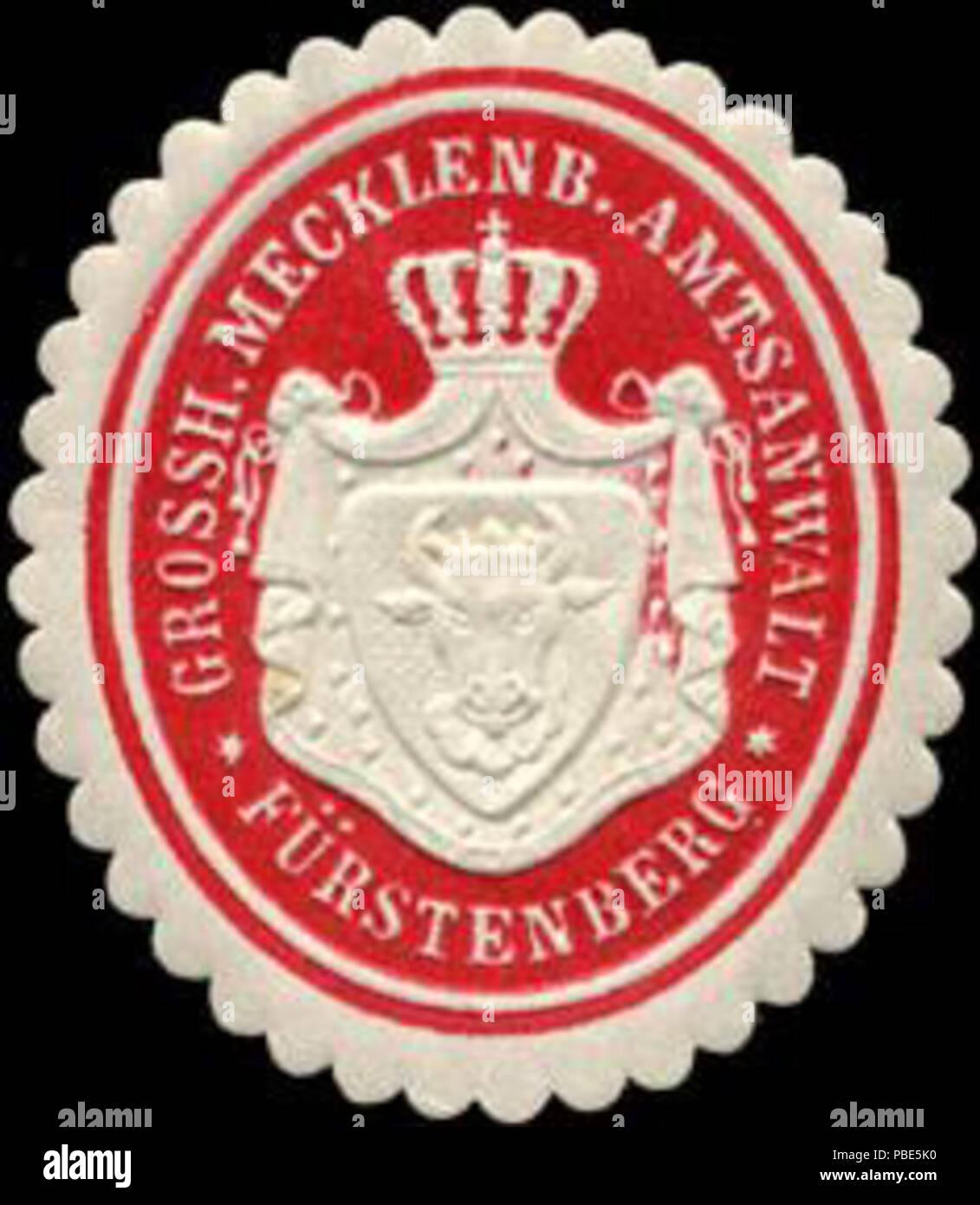 Alte Briefverschlussmarke aus Papier, welche seit ca. 1850 von Behoerden, Anwaelten, Notaren und Firmen zum verschliessen der Post verwendet wurde. 1393 Siegelmarke Gr. Mecklenburgischer Amtsanwalt Fürstenberg W0211494 Stock Photo
