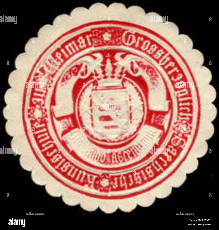 Alte Briefverschlussmarke aus Papier, welche seit ca. 1850 von Behoerden, Anwaelten, Notaren und Firmen zum verschliessen der Post verwendet wurde. 1393 Siegelmarke Gr. Sä. Kunstschule zu Weimar W0232771 - Stock Image