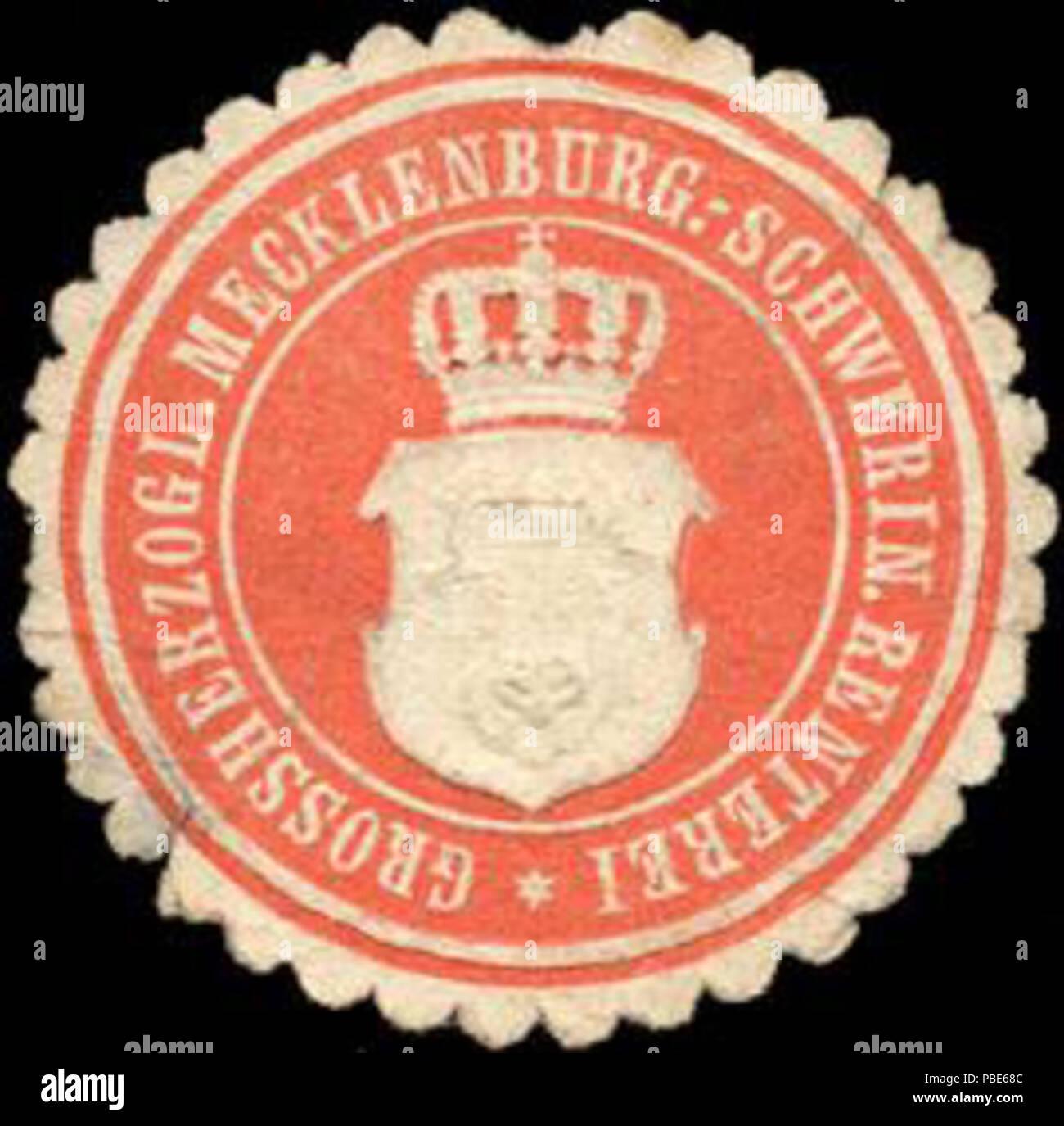 1395 Siegelmarke Grossherzoglich Mecklenburgisch - Schweriner Renterei W0213027 - Stock Image