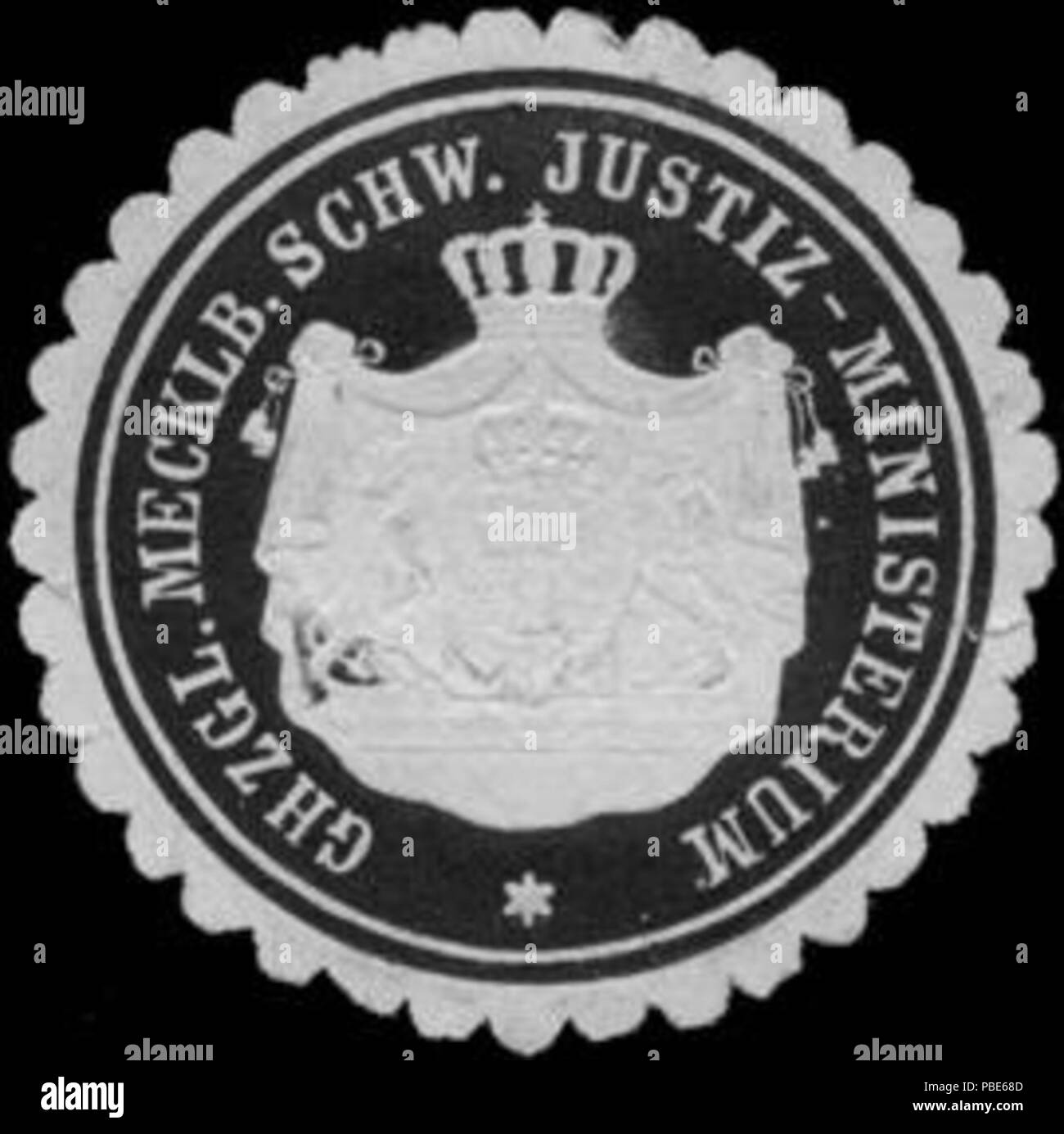 1395 Siegelmarke Grossherzoglich Mecklenburgisch Schw. Justiz - Ministerium W0211531 - Stock Image