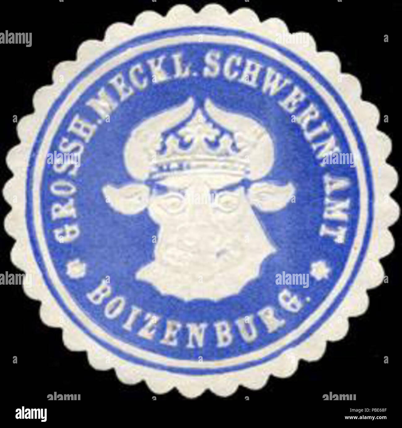 1395 Siegelmarke Grossherzoglich Mecklenburgisch Schweriner Amt - Boizenburg W0204588 - Stock Image