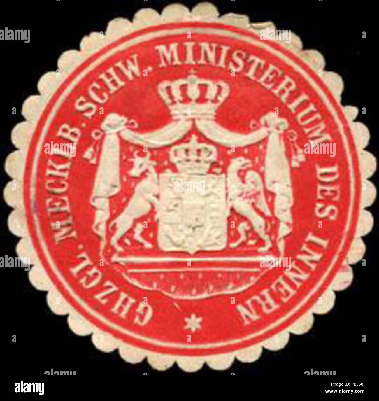 1395 Siegelmarke Grossherzoglich Mecklenburgisch Schweriner Ministerium des Innern W0204989 - Stock Image