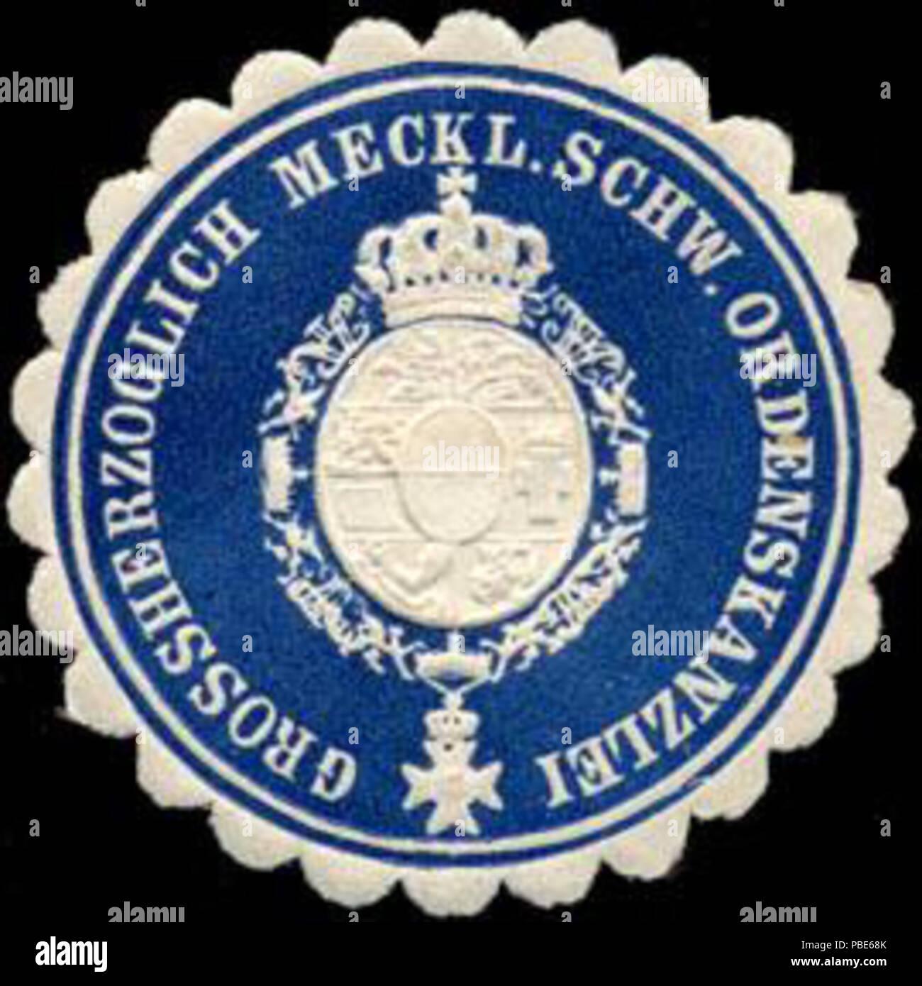 1395 Siegelmarke Grossherzoglich Mecklenburgisch Schweriner Ordenskanzlei W0204658 - Stock Image
