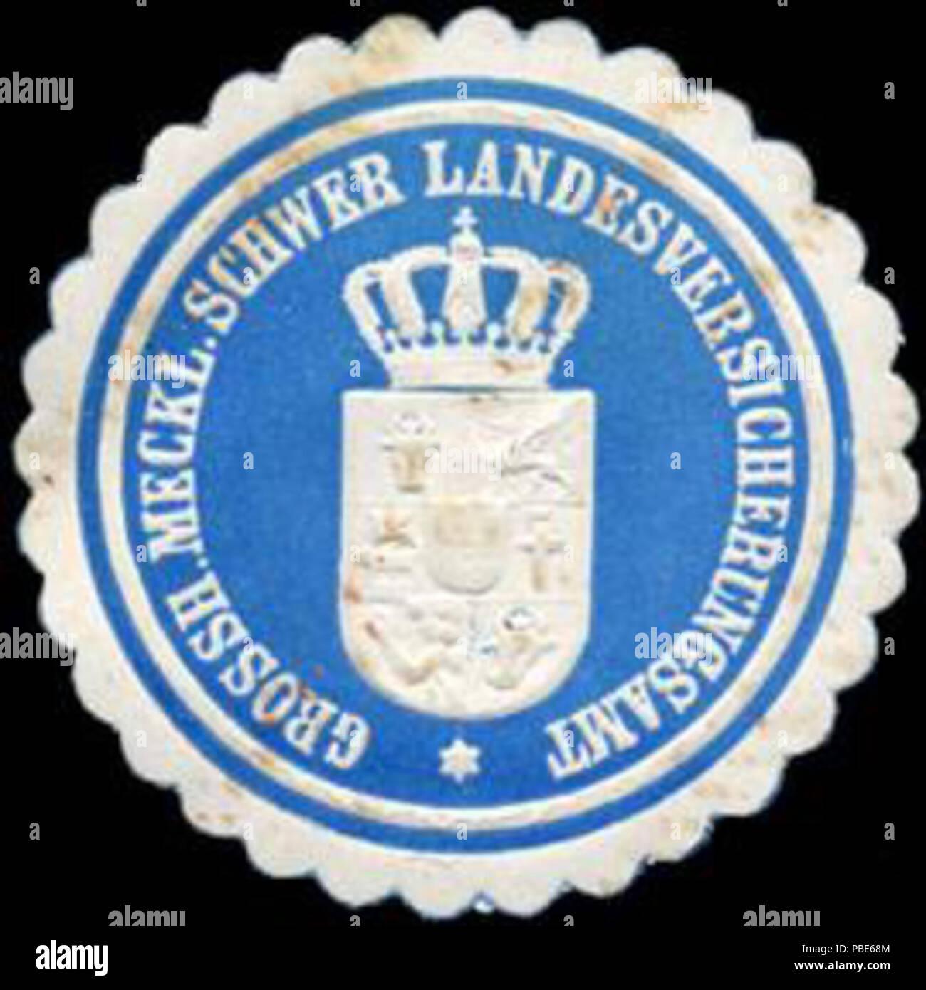 1395 Siegelmarke Grossherzoglich Mecklenburgisch Schweriner Landesversicherungsamt W0223272 - Stock Image
