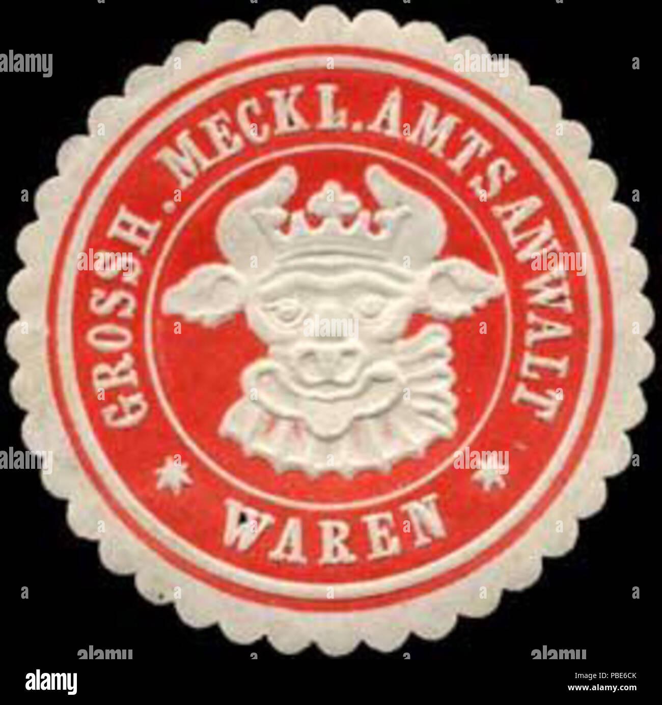 1396 Siegelmarke Grossherzoglich Mecklenburgischer Amtsanwalt - Waren W0255537 Stock Photo