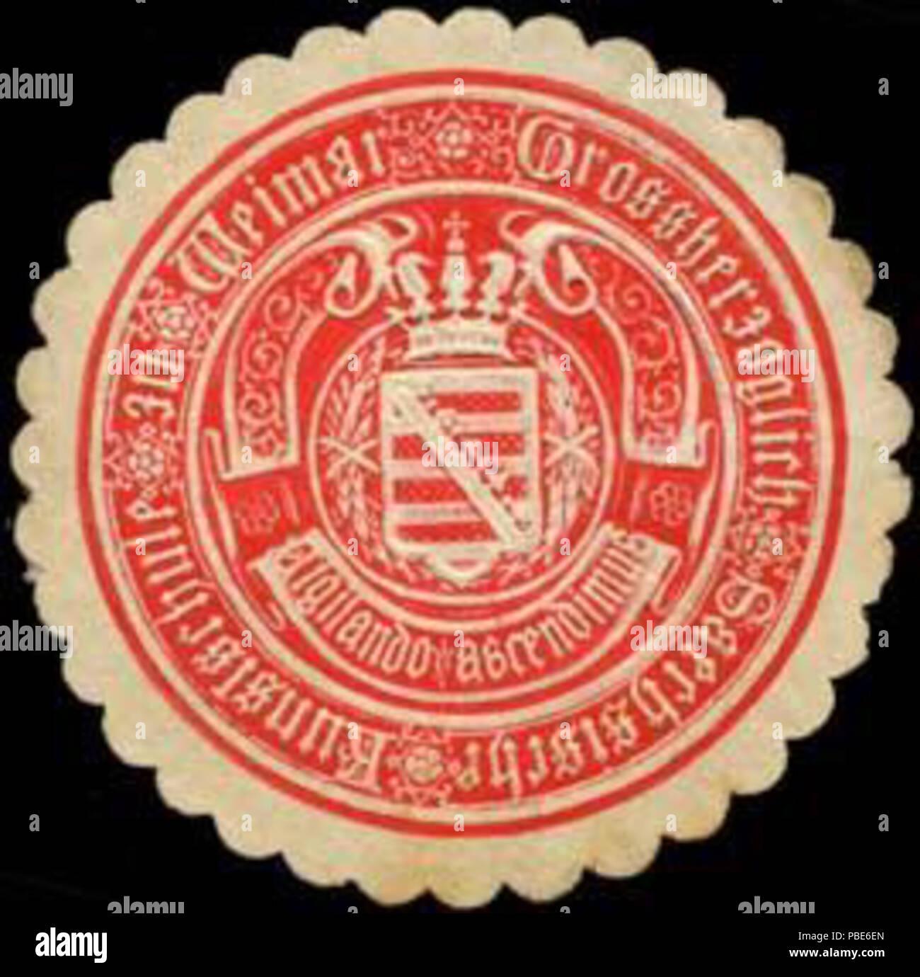 Alte Briefverschlussmarke aus Papier, welche seit ca. 1850 von Behoerden, Anwaelten, Notaren und Firmen zum verschliessen der Post verwendet wurde. 1396 Siegelmarke Grossherzoglich Sächsische Kunstschule zu Weimar W0290227 - Stock Image