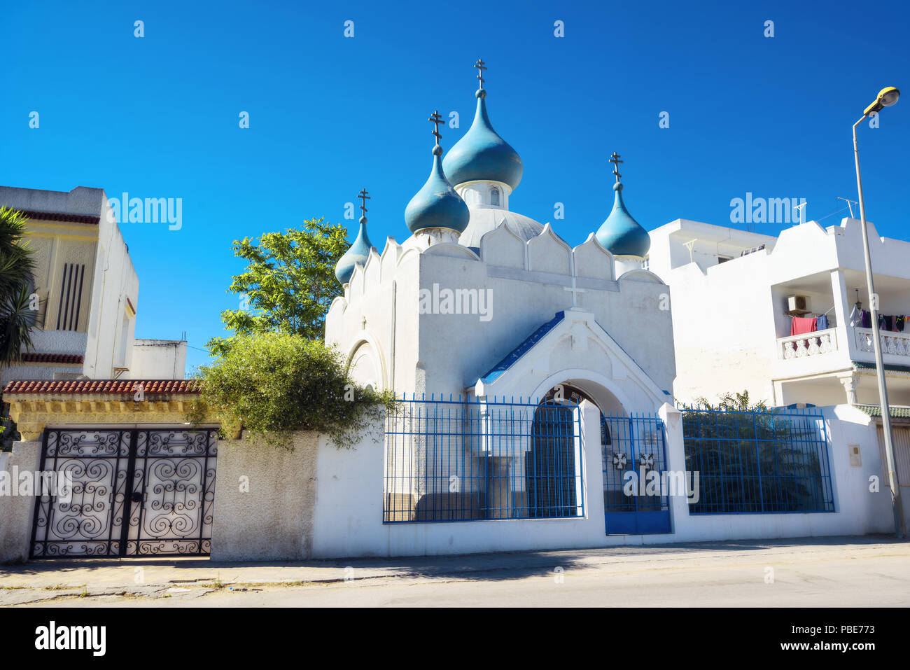 Historic small Russian orthodox church located at district of Bizerte. Tunisia, North Africa - Stock Image