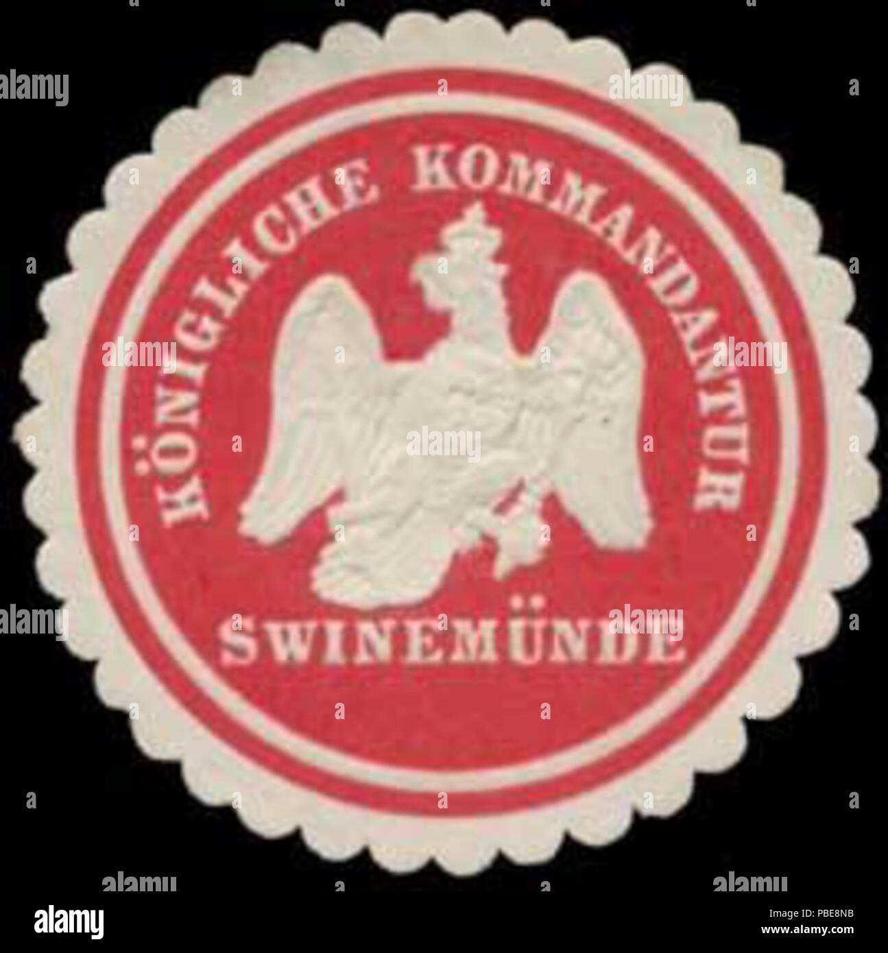 1407 Siegelmarke K. Kommandantur Swinemünde W0370734 Stock Photo
