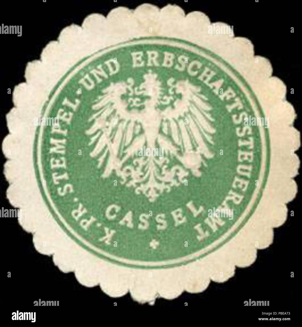 1415 Siegelmarke K. Pr. Stempel - und Erbschaftssteueramt - Kassel W0215081 - Stock Image
