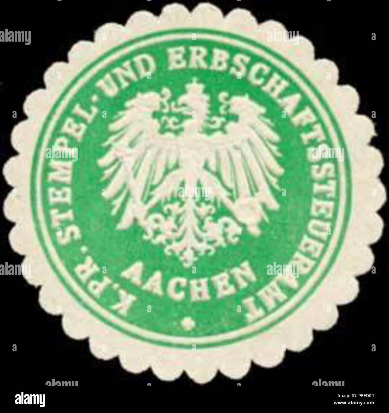 1430 Siegelmarke K.Pr. Stempel- und Erbschaftssteueramt Aachen W0380971 - Stock Image
