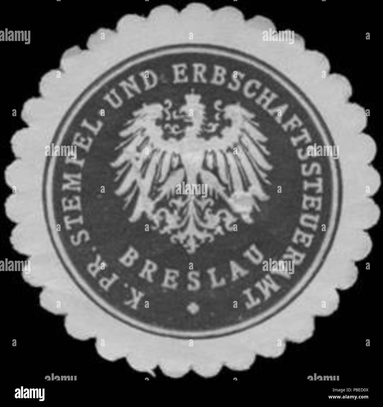 1430 Siegelmarke K.Pr. Stempel- und Erbschaftssteueramt Breslau W0343746 - Stock Image
