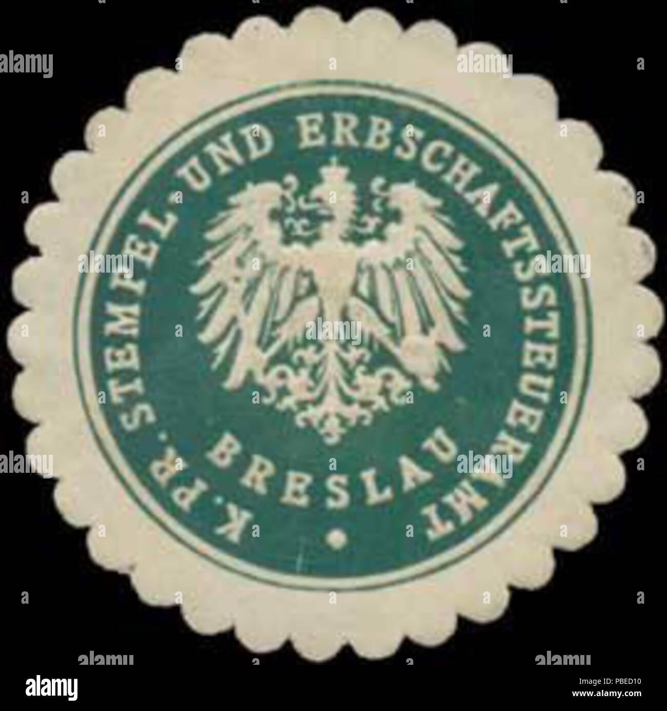 1430 Siegelmarke K.Pr. Stempel- und Erbschaftssteueramt Breslau W0344079 - Stock Image