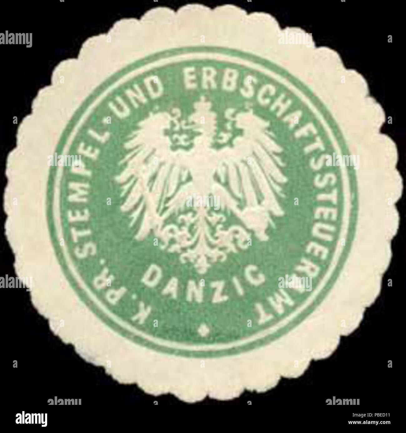 1430 Siegelmarke K.Pr. Stempel- und Erbschaftssteueramt Danzig W0314338 - Stock Image