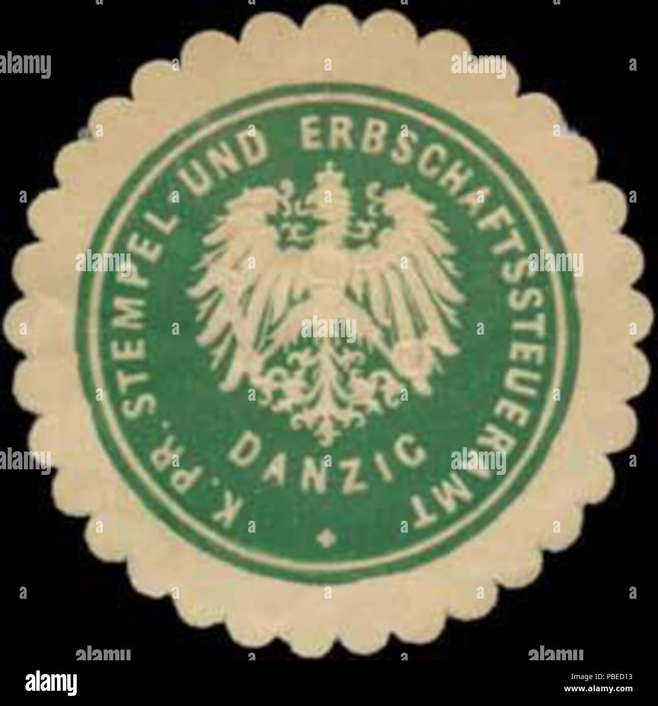 1430 Siegelmarke K.Pr. Stempel- und Erbschaftssteueramt Danzig W0334459 - Stock Image