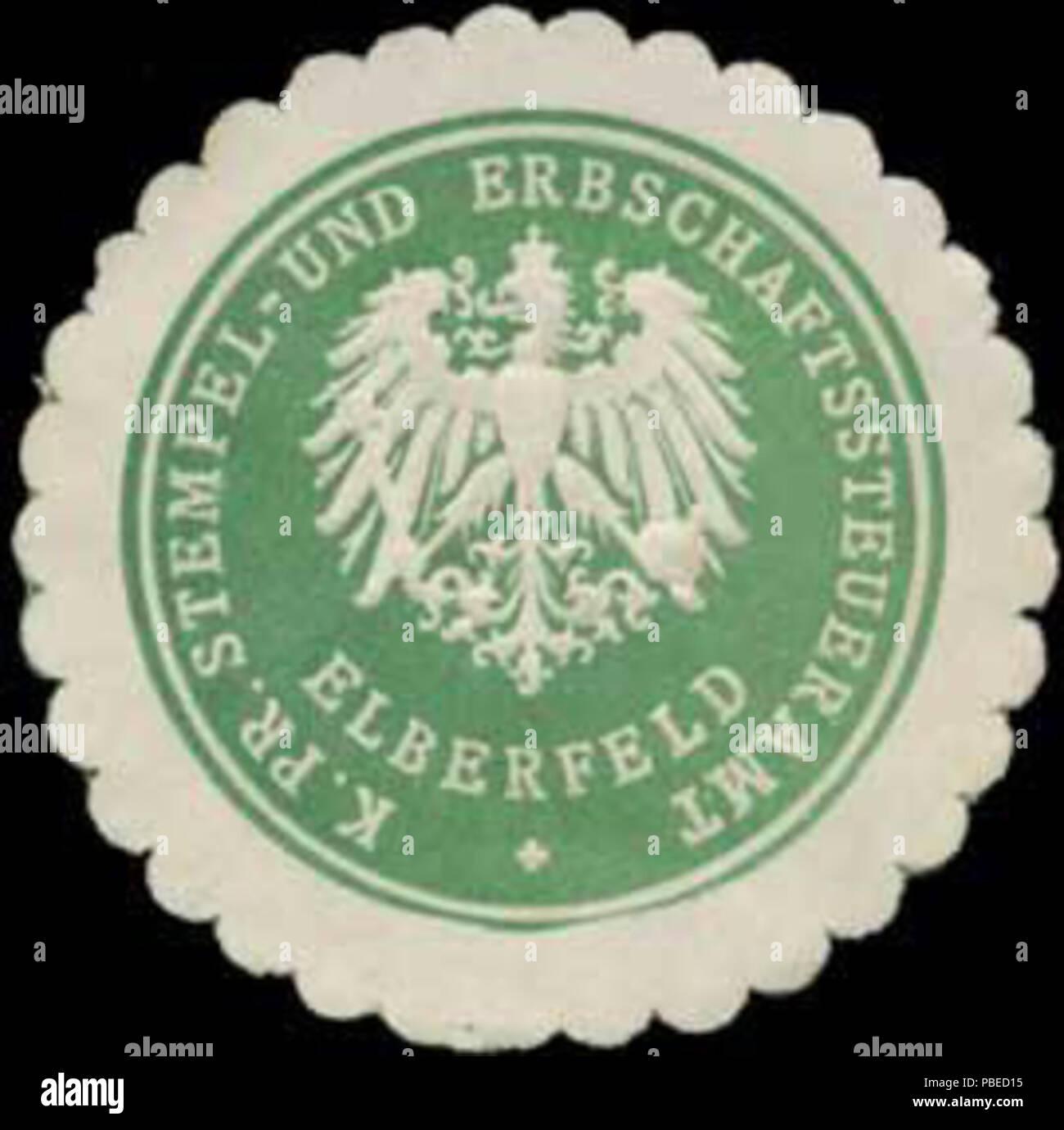 1430 Siegelmarke K.Pr. Stempel- und Erbschaftssteueramt Elberfeld W0331486 - Stock Image